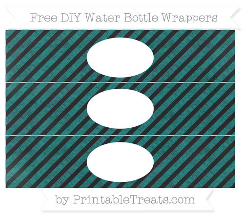 Free Teal Diagonal Striped Chalk Style DIY Water Bottle Wrappers