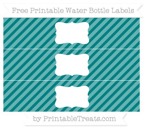 Free Teal Diagonal Striped Water Bottle Labels