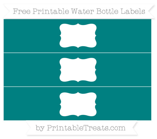 Free Teal Water Bottle Labels