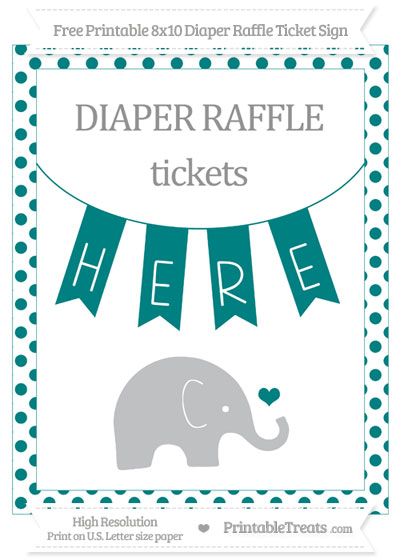 Free Teal Dotted Baby Elephant 8x10 Diaper Raffle Ticket Sign