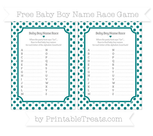 Free Teal Dotted Pattern Baby Boy Name Race Game