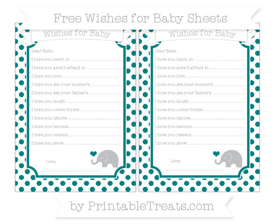 Free Teal Dotted Pattern Baby Elephant Wishes for Baby Sheets