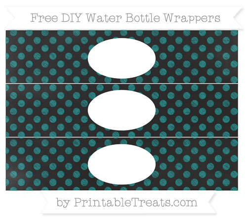 Free Teal Dotted Pattern Chalk Style DIY Water Bottle Wrappers