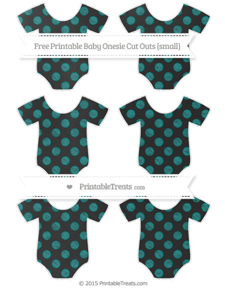 Free Teal Dotted Pattern Chalk Style Small Baby Onesie Cut Outs