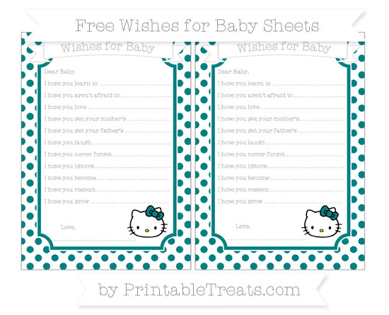 Free Teal Dotted Pattern Hello Kitty Wishes for Baby Sheets