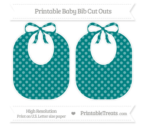 Free Teal Dotted Pattern Large Baby Bib Cut Outs