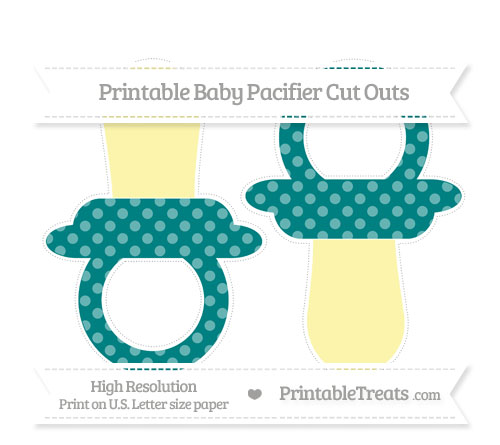 Free Teal Dotted Pattern Large Baby Pacifier Cut Outs