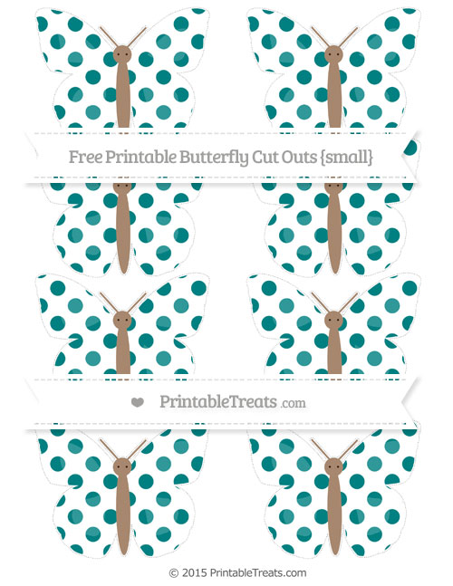 Free Teal Dotted Pattern Small Butterfly Cut Outs