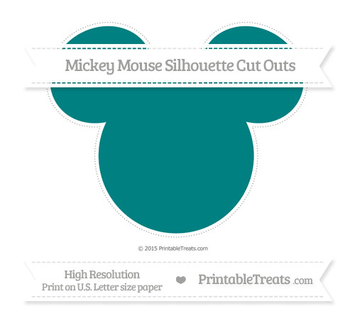 Free Teal Extra Large Mickey Mouse Silhouette Cut Outs
