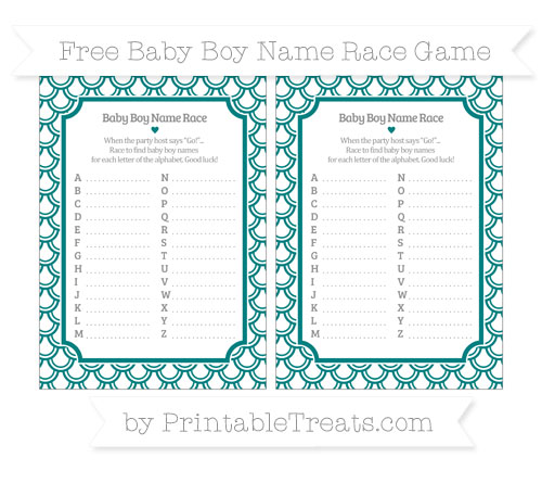 Free Teal Fish Scale Pattern Baby Boy Name Race Game