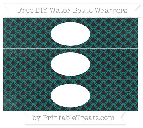 Free Teal Fish Scale Pattern Chalk Style DIY Water Bottle Wrappers