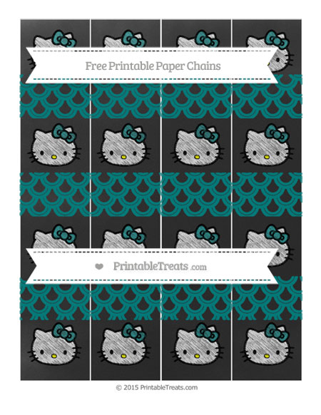 Free Teal Fish Scale Pattern Chalk Style Hello Kitty Paper Chains
