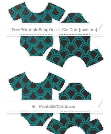 Free Teal Fish Scale Pattern Chalk Style Medium Baby Onesie Cut Outs