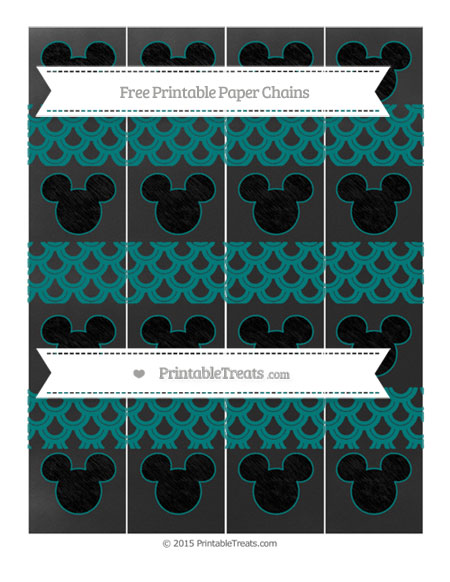 Free Teal Fish Scale Pattern Chalk Style Mickey Mouse Paper Chains