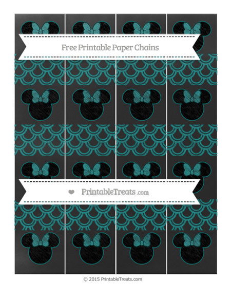Free Teal Fish Scale Pattern Chalk Style Minnie Mouse Paper Chains