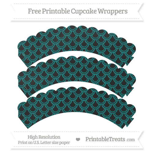 Free Teal Fish Scale Pattern Chalk Style Scalloped Cupcake Wrappers