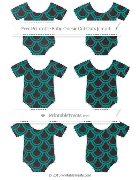 Free Teal Fish Scale Pattern Chalk Style Small Baby Onesie Cut Outs