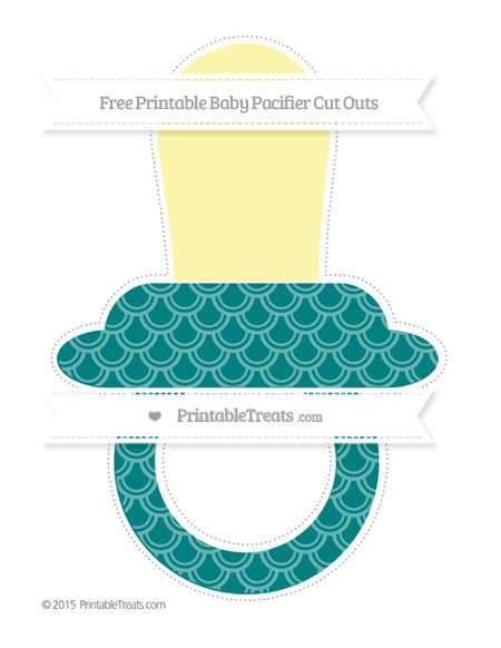 Free Teal Fish Scale Pattern Extra Large Baby Pacifier Cut Outs