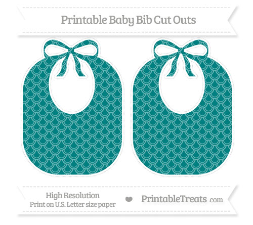 Free Teal Fish Scale Pattern Large Baby Bib Cut Outs