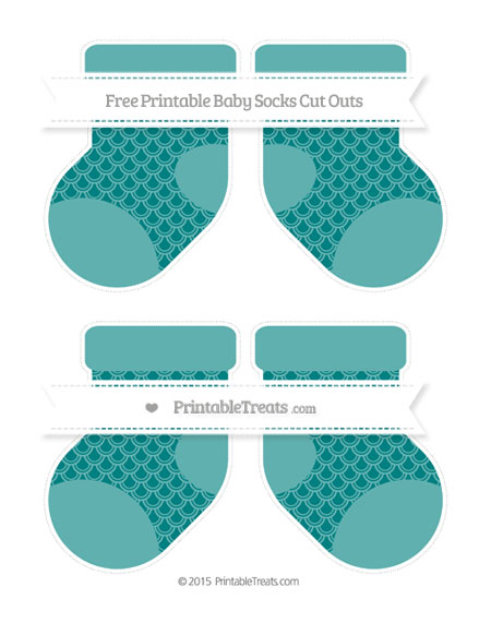 Free Teal Fish Scale Pattern Medium Baby Socks Cut Outs