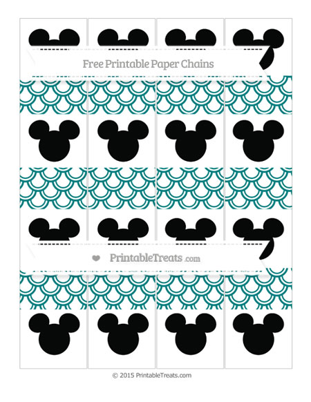 Free Teal Fish Scale Pattern Mickey Mouse Paper Chains