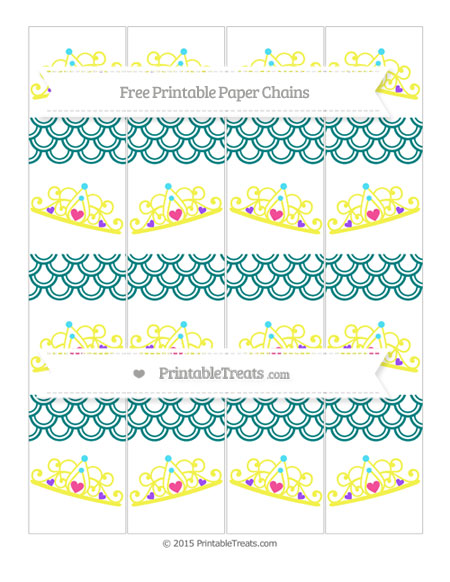 Free Teal Fish Scale Pattern Princess Tiara Paper Chains