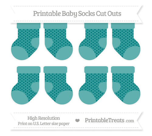 Free Teal Fish Scale Pattern Small Baby Socks Cut Outs