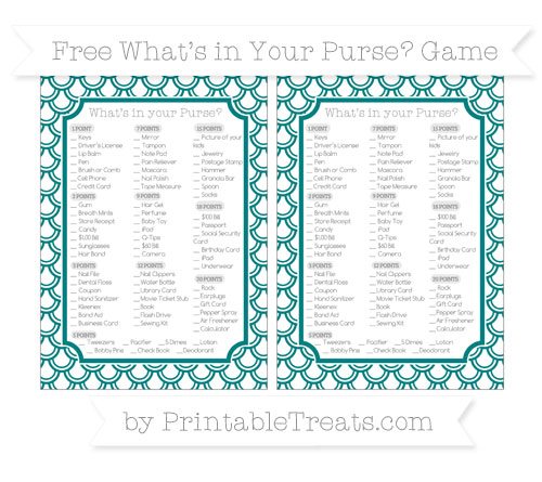 Free Teal Fish Scale Pattern What's in Your Purse Baby Shower Game