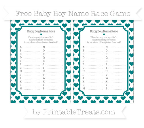 Free Teal Heart Pattern Baby Boy Name Race Game