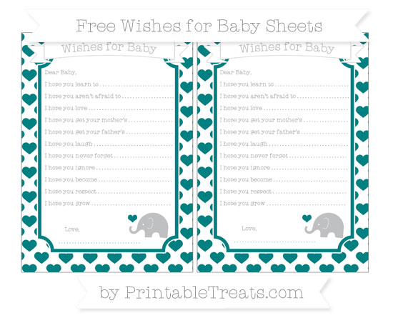 Free Teal Heart Pattern Baby Elephant Wishes for Baby Sheets
