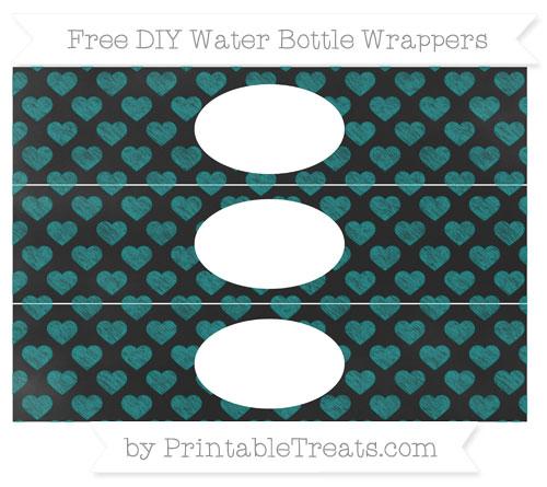 Free Teal Heart Pattern Chalk Style DIY Water Bottle Wrappers