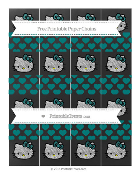Free Teal Heart Pattern Chalk Style Hello Kitty Paper Chains
