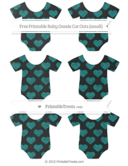Free Teal Heart Pattern Chalk Style Small Baby Onesie Cut Outs
