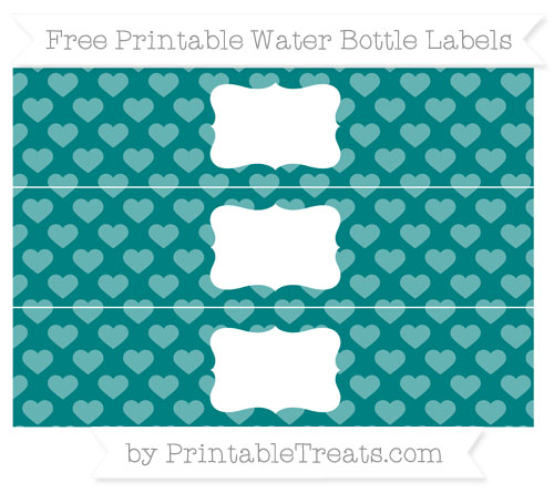 Free Teal Heart Pattern Water Bottle Labels