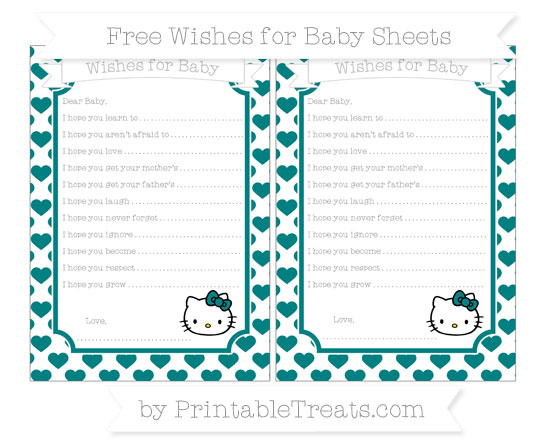 Free Teal Heart Pattern Hello Kitty Wishes for Baby Sheets