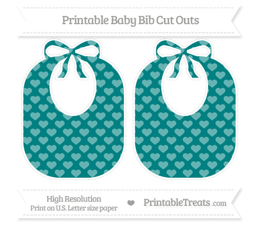 Free Teal Heart Pattern Large Baby Bib Cut Outs
