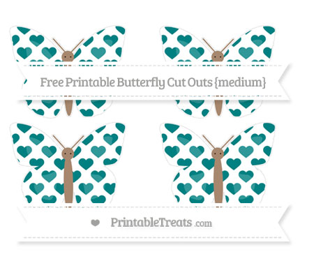 Free Teal Heart Pattern Medium Butterfly Cut Outs