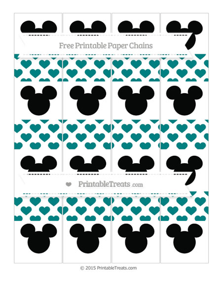 Free Teal Heart Pattern Mickey Mouse Paper Chains