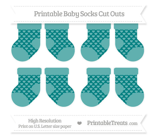 Free Teal Heart Pattern Small Baby Socks Cut Outs