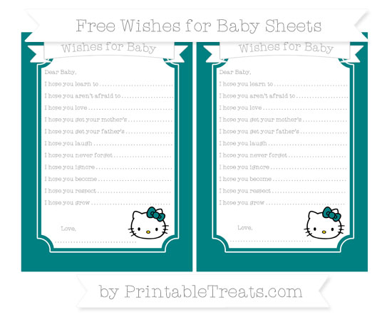 Free Teal Hello Kitty Wishes for Baby Sheets