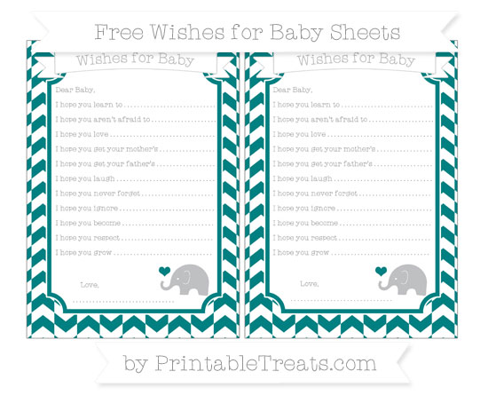 Free Teal Herringbone Pattern Baby Elephant Wishes for Baby Sheets