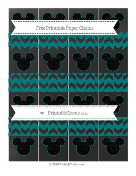 Free Teal Herringbone Pattern Chalk Style Mickey Mouse Paper Chains