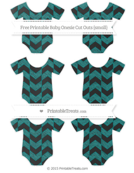 Free Teal Herringbone Pattern Chalk Style Small Baby Onesie Cut Outs