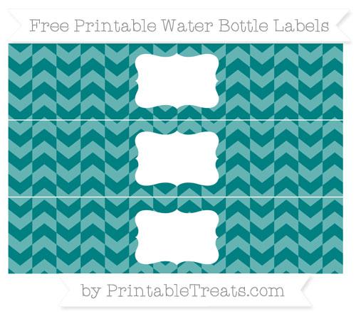 Free Teal Herringbone Pattern Water Bottle Labels