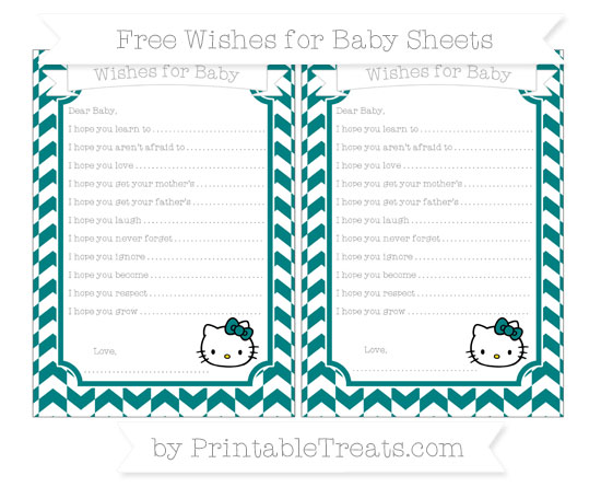 Free Teal Herringbone Pattern Hello Kitty Wishes for Baby Sheets
