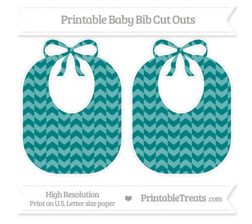 Free Teal Herringbone Pattern Large Baby Bib Cut Outs
