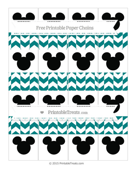 Free Teal Herringbone Pattern Mickey Mouse Paper Chains
