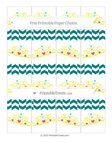 Free Teal Herringbone Pattern Princess Tiara Paper Chains