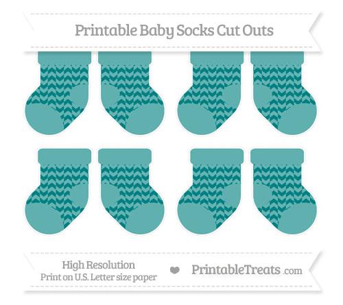 Free Teal Herringbone Pattern Small Baby Socks Cut Outs