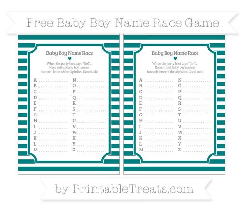 Free Teal Horizontal Striped Baby Boy Name Race Game